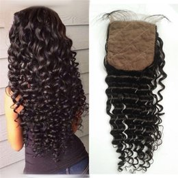 Wholesale Silk Base Closure Middle Part - Brazilian Virgin Hair Silk Base Closure Deep Wave Human Hair Silk Base Closure with Hidden Knots FDSHINE HAIR