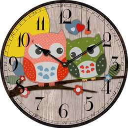 Wholesale Vintage Style Wall Clocks - Wholesale-Bird Style Kids Owl Wall Clock Vintage Antique Wooden Wall Clock Modern Design Large Decorative Wall Clocks Home Decor