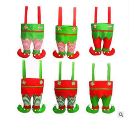 Wholesale Colors Elf - Elf Pants Stocking Christmas Decorations Ornament Xmas Fabric Candy Bag Festival Party Accessory Best Gifts 6 Colors DHL Free Shipping