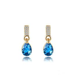 Wholesale Cheap Gold Earrings Diamonds - Chandelier Earrings Dangle Earrings Blue Diamond Water Drop Earrings For Women Rose Gold Cheap Eardrop Party Gift