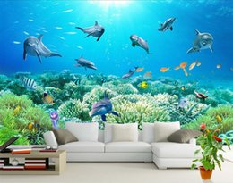 Wholesale Photo Print Paper Sizes - Photo any size Underwater world TV wall mural 3d wallpaper 3d wall papers for tv backdrop