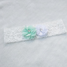 Wholesale Vintage Lace Bridal Garters - 1pcs Bridal Vintage Bridal Crystal Rhinestone White Wedding Garter Toss Garter Stretch Lace with Mint Chiffon Flower