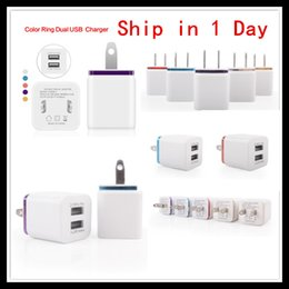 Wholesale Double Docking - US Plug 5V 2.1A Travel Wall Chargers Double USB Home Charegr AC Power Adapters For Samsung S6 S5 Note5 Blackberry iPhone6S 5s