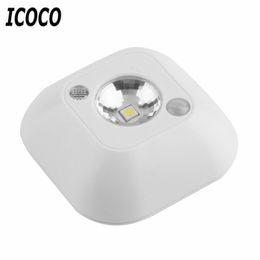 Wholesale Power Save Battery - Wholesale- ICOCO Popular New Mini Wireless Infrared Motion Sensor Ceiling Night Light Battery Powered Porch Lamp Energy Saving Night Light