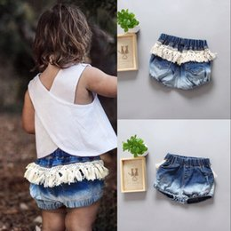 Wholesale Wholesale Kids Jeans - 2017 Ins Summer Fashion Baby Girl Denim Jeans Kids Girls Lace Tassel Casual Pants Children Clothes