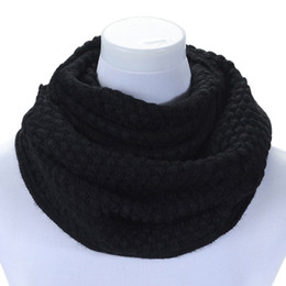 Wholesale Red Knit Infinity Scarf - Wholesale-Brand new 2015 Pure colors neck Scarf Women Winter Warm Infinity 2 Circle Cable Knit Long Ring Scarf