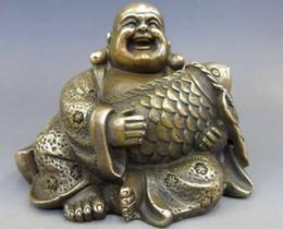 Wholesale Chinese Fish Statue - Elaborate Chinese Brass Buddhism Fengshui Fish Money Wealth Maitreya Buddha Statue