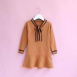 Wholesale Kids Striped Sweaters - Everweekend Girls Bow Striped Ruffles Sweater Dress Lovely Kids Candy Color Clothes Princess Western Fashion Autumn Party Dress
