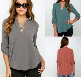Wholesale Loose Fitting Tops For Women - Women top blouse for women Seven-color eight large sizes V-neck long sleeves wrinkled sleeves loose jacket chiffon shirt fit for female