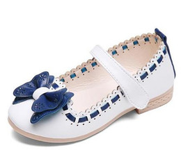Wholesale Leather Dress For Baby Girl - 2017 Baby Girls Leather Shoes Child Girls Sandals Shoes for Girls Leather Princess Shoe Kids Bow Leather Shoes