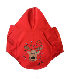 Wholesale Dog Reindeer - Classic Christmas reindeer dogs hoodie suit clothes red Christmas overcoat puppy dog clothing in the winter of free shipping