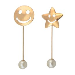 Wholesale Pearl Smile - idealway 2 Style Fashion Retro Gold Plated Pearl Star Smiling Face Brooch Pins 12 pcs lot