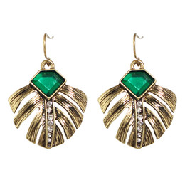Wholesale Green Plant Costumes - Vintage Costume Jewelry Green Stone Rhinestone Leaf Design Dangle Earrings