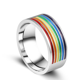 rainbow rings for women Promo Codes - New Stainless steel Gay Rings rainbow color Homosexual pride High quality Titanium steel Ring For Men Women Fashion Jewelry in Bulk