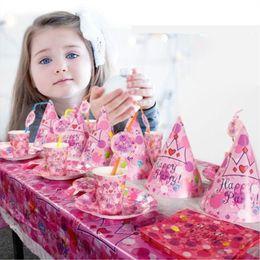 Wholesale Kids Hats China - Baby Girls Birthday Set Cups Napkin Hats Supplies Baby Birthday Party Pack Event Birthday Accessory Kids glitter Headbands UPS Free Ship