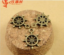 Wholesale Wholesale Wheel Charm - 18*16MM Antique Bronze ship wheel charms for bracelet, metal dangle vintage nautical pendants for necklace, tibetan jewelry making findings