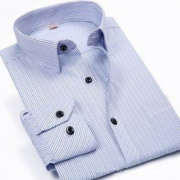 Wholesale Imported Shirts - Wholesale- Non-Iron Business Shirt Striped Dress Dad Blue Solid Turn Down Collar Korean Shirt Design Clothes Men China Brand Imported Shirt