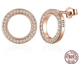 Wholesale Gold Studded Earrings - Diamond studded round rose gold stud earrings Earrings S925 sterling silver Earrings Charm Wedding Jewelry 2017 Jewelry
