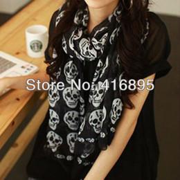 Wholesale Black White Long Scarf - Wholesale- New White Black Girl's Long Cool Big Skull Scarf Women Shawl Wrap Stole Skeleton sc01