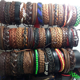 Wholesale Surfer Leather Bracelet Wristband - Wholesale 100pcs Men Women Vintage Genuine Leather Bracelets Surfer Cuff Wristbands Party Gift Mixed Style Fashion Jewelry Lots