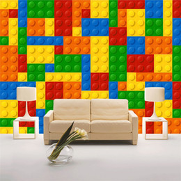 Wholesale Mural Wallpaper - Custom Size 3D Wall Murals Wallpaper For Living Room Lego Bricks Children's Bedroom Toy Store Non-woven Mural Wallpaper Decor