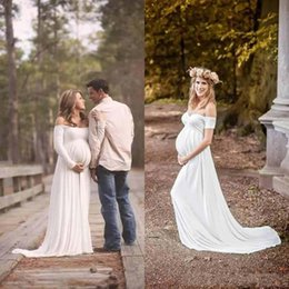 Wholesale Sweetheart Pregnant Wedding Dress - New Simple 2017 Maternity Empire Wedding Dresses Cheap Short Sleeves Off Shoulder Sweetheart Long Pregnant Gowns Custom Made