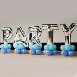 Wholesale Foil Banner - 40 inches Silver Letter Foil Balloons Birthday Party Banner Helium Letter Balloon Wedding Decoration Ballons Holiday Supplies