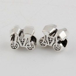 bicicletas antigas Desconto Hot ! 120pcs Antique Silver Alloy Bicycle Bike Big Hole Spacer Beads Fit European Bead Bracelet 12X10MM