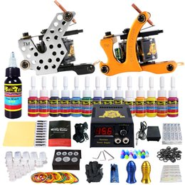 Wholesale Tip Kit For Tattoo Gun - Solong Tattoo Starter Tattoo Kit 2 Coil Machine 14 Inks Needles for Shader Liner Power Box Grips Tips TK212