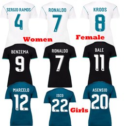 Wholesale Green Girls Shirt - Women Real Madrid 2017 2018 Ronaldo ASENSIO White Black Green Soccer Jerseys Camisetas Girl Female 17 18 Kroos Ramos Modric ISCO Bale Shirts