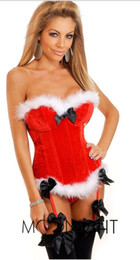 Wholesale Christmas Bustiers Corsets - Fashion Sexy Women Velvet Shaper Corsets Bustiers Lingerie Overbust Corsets Halloween Christmas Paty White Red Dress Plus Size