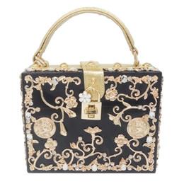 Wholesale Beige Hard Case Clutch - Wholesale- Light Blue Acrylic Metal Floral Appliques Crystal Women Shoulder Handbags Crossbody Bags Hard Case Trunk Ladies Box Clutch Bag