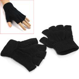 Wholesale Fingerless Elastic Gloves - Wholesale- 1 Pair Men Black Knitted Stretch Elastic Warm Half Finger Fingerless Gloves Short for Winter