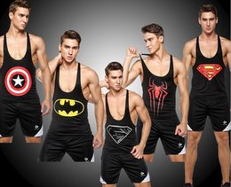 Wholesale Tattoo Color Arms - Football Tattoo grain arm fitness training speed dry clothing tights superman sporting male play high absorbent workout Sleeveless vest