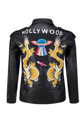 Wholesale Male Dragon Clothing - 2017 New Arrivals Fashion Motorcycle Leather Jackets Men Autumn Winter Embroidery HOLLYWOOD Dragon pattern Leather Clothing Male casual Coat