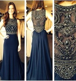 Wholesale New Soiree Dresses - Only $89 New 2017 Navy Blue Chiffon A Line Scoop Evening Dresses Long Robe De Soiree Beaded Crystals Long Party Prom Gowns CPS417