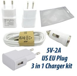 Wholesale Phone Charger For Bags - 50pcs Real 5V 2A USB Wall Charger + 50pcs Micro USB Cable + 50pcs Mini Car Charger Charger kit For Samsung Android Phone With ziplock bags