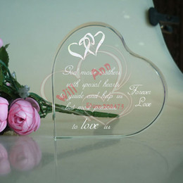 Wholesale Crystal Heart Favors - Wholesale- 50PCS LOT Personalized Crystal Heart Paperweight Souvenirs Wedding Favors For Guests