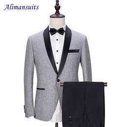 Wholesale wool shawl for wedding dress - Wholesale- New Prom Men Suit Grey wool With Black Pants Wedding Suits for Men Shawl Lapel 2 pieces Korean Slim Fit Dress (Jacket+Pant)