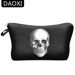Wholesale Women Traveling Bags - Wholesale- DAOXI 3D Skull Printing Portable Cosmetic Bag Storage Women for Traveling Makeup Necessaries