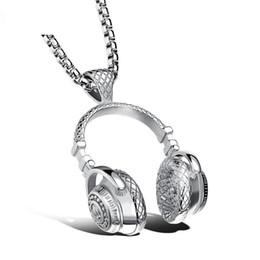Wholesale Titanium Cross Necklaces For Men - Creative Music Headphones Pendant Necklace for Women Man Gold Sliver Black Color Jewelry Wholesale Colar Cross Trendy Necklaces
