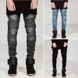 Wholesale Wholesale White Men Jeans - Wholesale- Mens Skinny Jeans Men Slim Fit Pleated Punk Biker Denim Hip Hop Motorcycle Rock Rap Jeans Blue Grey Black White Pants Plus Size