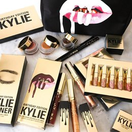 Wholesale 2017 Kylie Birthday Makeup Kit Cosmetic Bag Travel Partable Pack Kylie LEO Lipgloss Set Modify Lip Stick