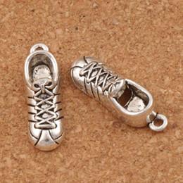 Wholesale Shoes Charm Bracelets Wholesale - Sport Shoe Charms 50pcs lot Antique Silver Pendants Jewelry DIY 24.8x19.2mm L251 Fit Bracelet Necklace Earrings