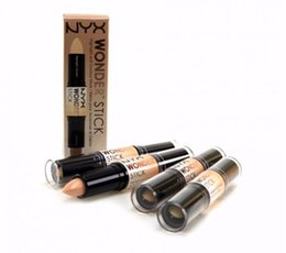 Wholesale End Light - NYX Wonder Stick concealer Highlighter Contour Stick Foundation Face makeup Double-ended Contour stick 4 Colors Light Medium Deep Universal