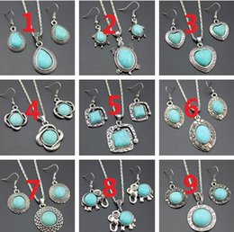 Wholesale Turquoise Turtle Jewelry - 2017 new fashion mix 10 styles Alloy Elephant Drops of water Sea turtle heart FLOWER Butterfly Turquoise Necklace earring jewelry set
