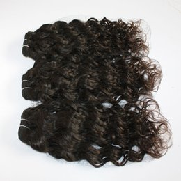 Wholesale Remi Curly - 100% Brazilian Human Virgine Remi Hair 100g piece 3pcs lot Curly Water Wave Peruvian Hair Weaving Extensions