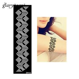 Wholesale Tattoo Stripes Arm - Wholesale-1 Piece Women Arm Shoulder Body Art Paint Tattoo Henna Stencil Stripe Bracelet Pattern Design DIY Tattoo Template Non-toxic S642