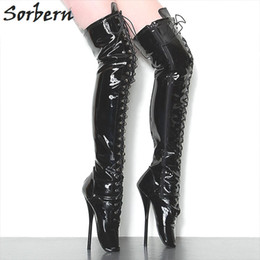 """Wholesale Thigh Boots Cross - Extreme Fetish Boots Heeled 18cm 7"""" High Heel Gothic Punk Drag Queen Cross-tied Over Knee Thigh Long Ballet Boots Plus Size 36-46"""