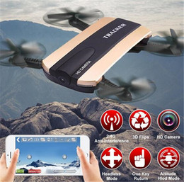 Wholesale Video Camera Connections - JXD523 Tracker Foldable Quadcopter Phone app control RC JJRC H37 6-Axis Gyro WIFI FPV HD Camera RC Quadcopter G-sensor Selfie Drone JXD 523